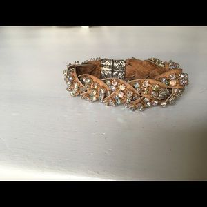 Jewelry - Iridescent rhinestone & leather cuff bracelet